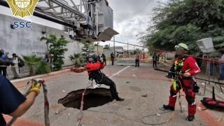 La Secretaría de Seguridad Ciudadana coadyuva con el gobierno de Hermosillo, Sonora, en la localización y rescate de un hombre que cayó a un socavón